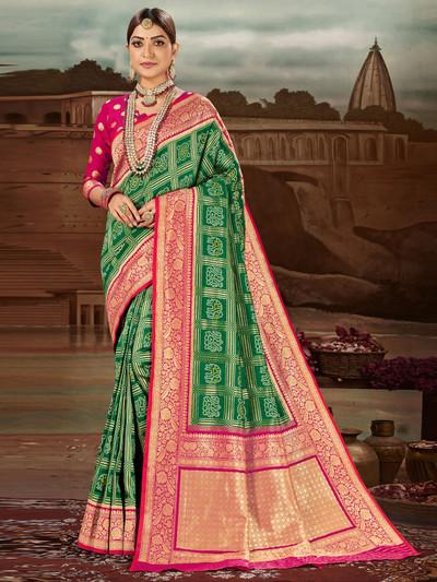 Gorgeous green zari weaved wedding saree in banarasi silk
