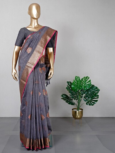 Gorgeous grey cotton festive wear saree