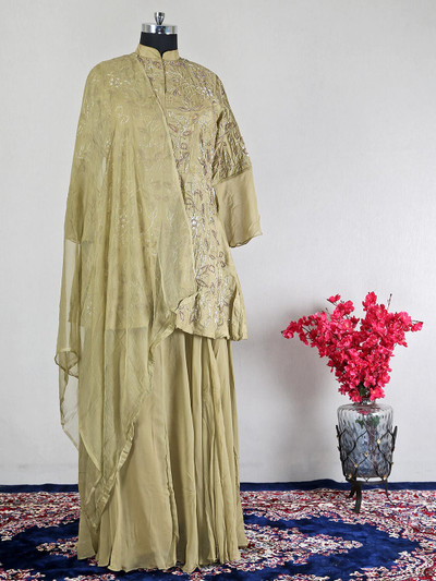 Gorgeous olive raw silk festive wear lehenga style salwar suit