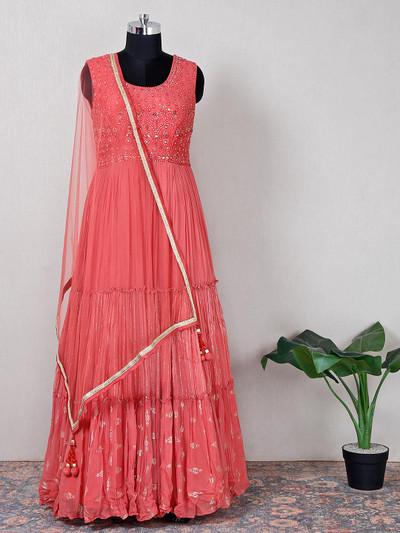 gorgeous peach net wedding wear anarkali suit