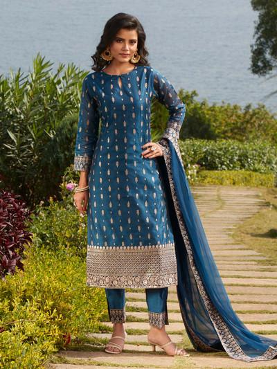Gorgeous teal blue cotton silk punjabi style festive wear pant suit
