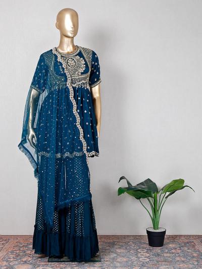 Gorgeous teal blue silk wedding wear sharara suit