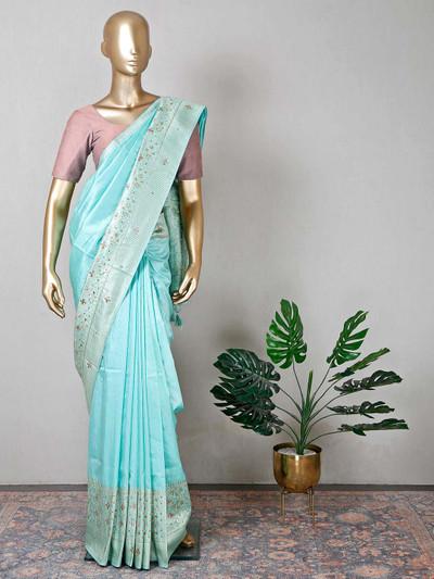 Gorgeous wedding wear sea green rawsilk saree
