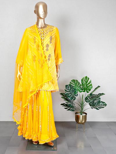 Gorgeous yellow georgette festive wear sharara suit