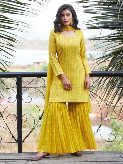Gorgeous yellow georgette punjabi style wedding wear sharara suit