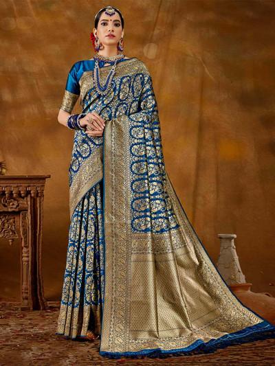 Grand blue banarasi silk saree for wedding functions