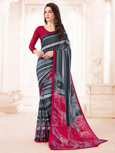 Grand grey and pink printed crepe saree