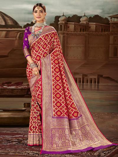 Grandiose red banarasi silk saree for wedding functions