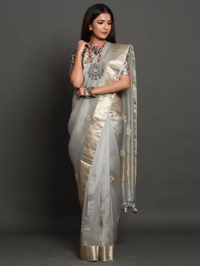 Gray Orgaza Silk Party Wear Saree  with readymade blouse