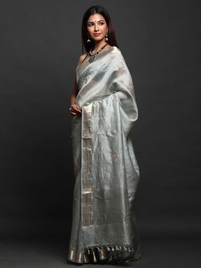 Gray party Wear Silk Saree
