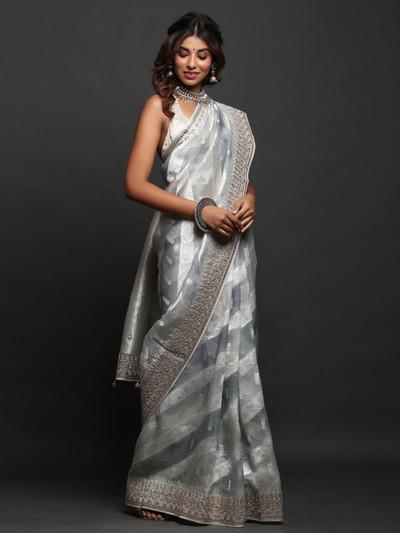 Gray Wedding Wear Saree