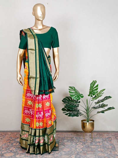 Green and red wedding saree in patola silk