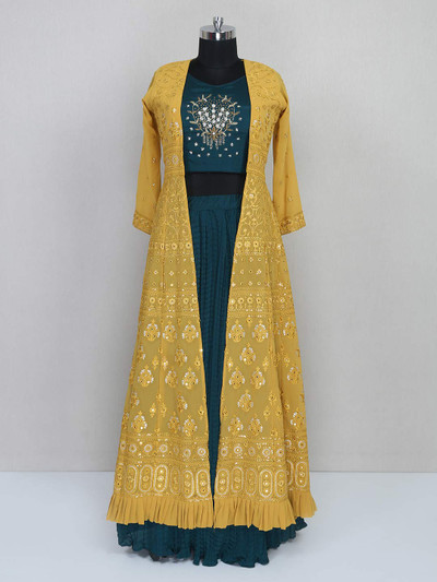 Green and yellow reception wear suit