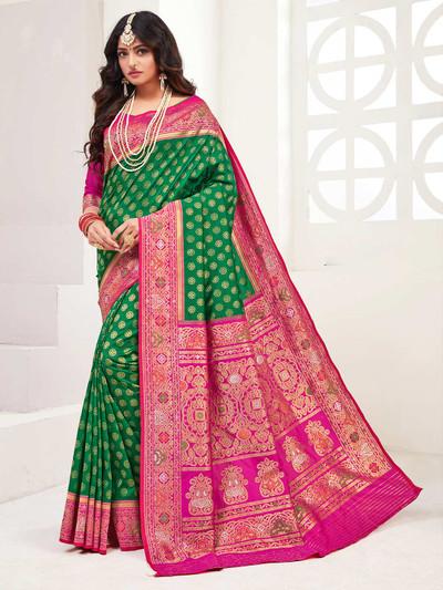 Green banarasi silk wedding wear saree with zari weaved