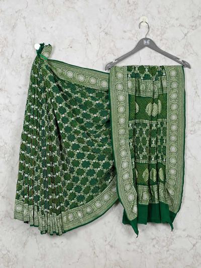 Green bandhej wedding designer saree