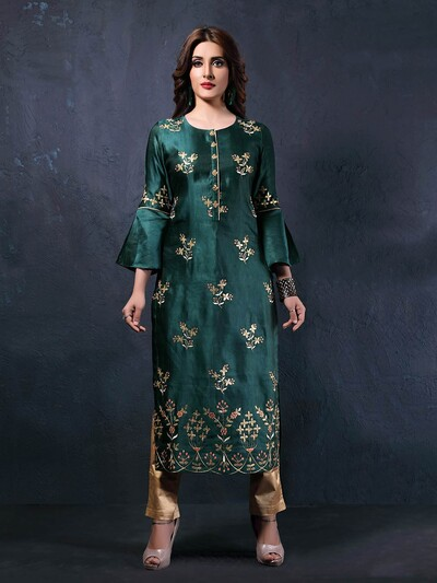 Green colored round neck cotton silk kurti