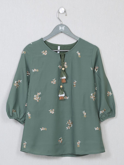 Green cotton casual top for women