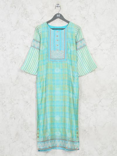 Green cotton casual wear kurti in print