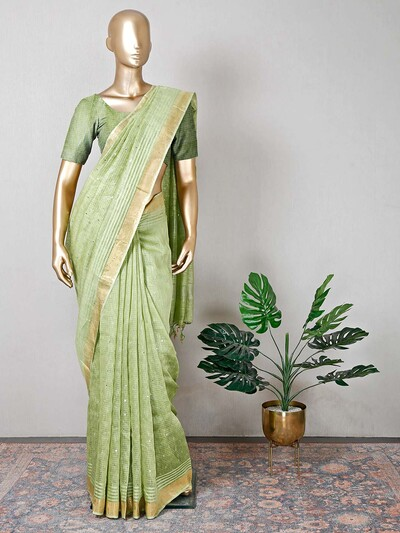 Green cotton festive occasions saree