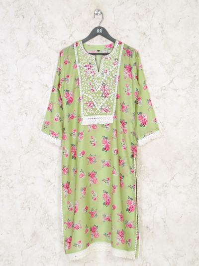 Green cotton kurti in printed style for festive