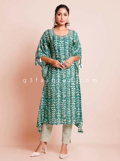 Green cotton printed casual wear kurti