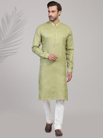 Green cotton stand collar mens kurta suit