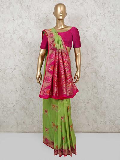 Green dola silk saree for festives