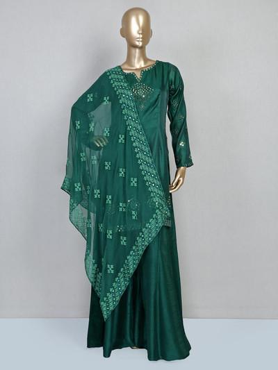 Green festive wear palazzo salwar suit in cotton silk