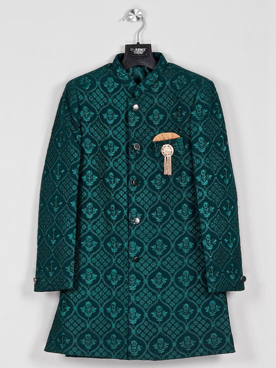 Green georgette indo western for boys