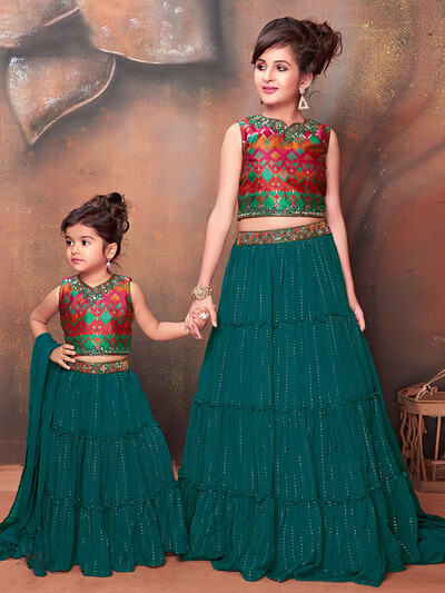 Green georgette party wear girls lehenga choli