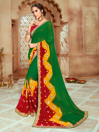 Green georgette printed saree with half contrast pallu