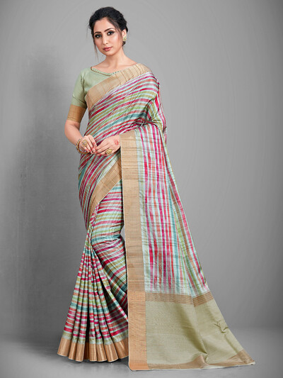 Green handloom cotton saree for festive session