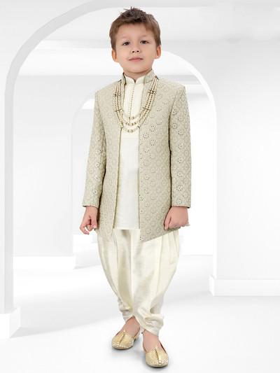 Green hue raw cotton silk fabric party wear indo western