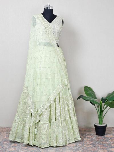 Green net designer lehenga choli for women