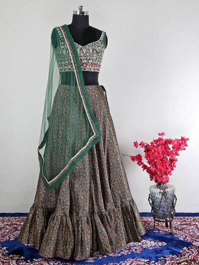Green net wedding wear lehenga choli for wedding