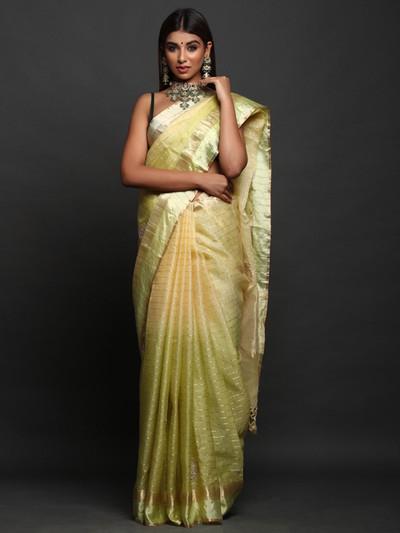 Green Party Wear designer Saree in Silk