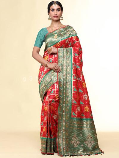 Green patola silk saree for wedding functions