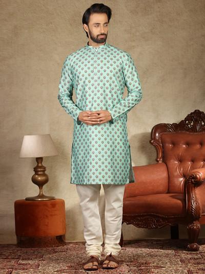 Green printed cotton kurta suit festive wear