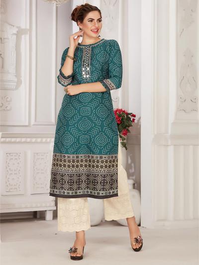 Green punjabi festive wear cotton kurti