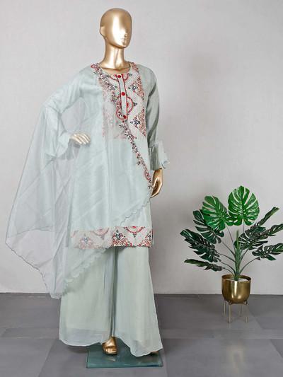 Green raw silk designer palazzo salwar kameez