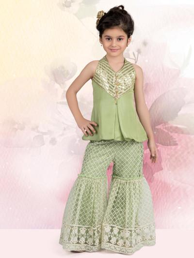 Green raw silk sharara suit for girls