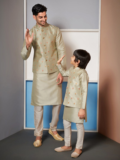 Green raw silk waistcoat set for father and son