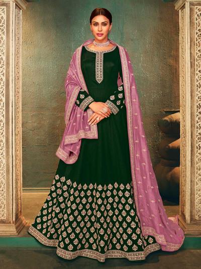 Green raw silk wedding wear anarkali salwar suit