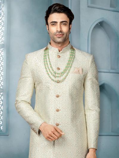 Green raw silk wedding wear indo western