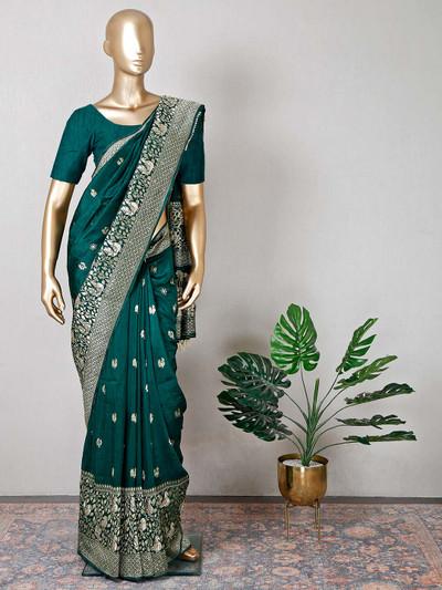 Green raw silk wedding wear saree