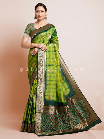 Green shibori printed cotton silk festival saree design