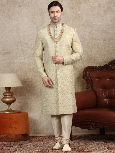 Green silk fabric sherwani for wedding occasions