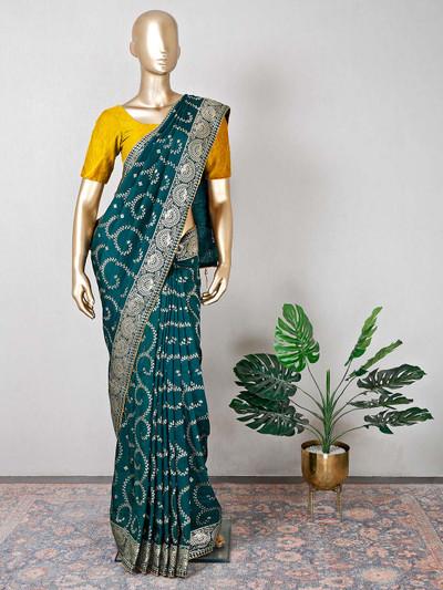 Green silk festive wear saree for women