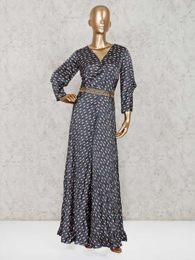 Green silk party floor length printed salwar suit