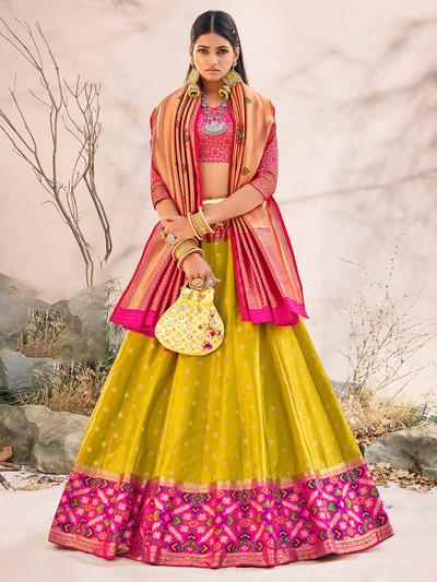 Green silk unstitched lehenga choli for wedding session